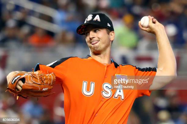 Foster Griffin of Team USA pitches during the SirusXM AllStar Futures Game at Marlins Park on Sunday July 9 2017 in Miami Florida