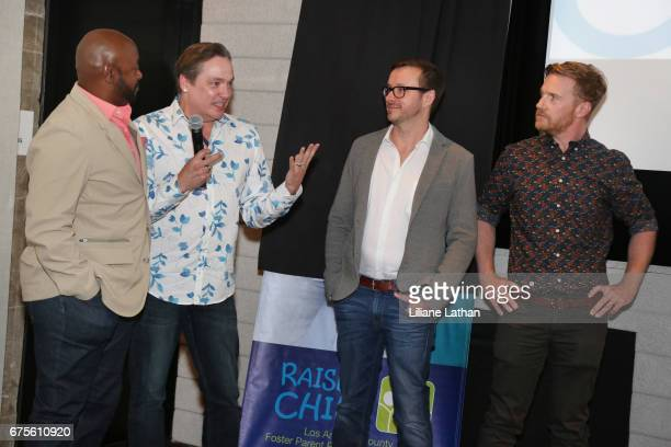 Foster parents Aaron Knight Ross Smith Jason Kennedy and Mark Daley attend the reveal of the RaiseAChild's 'Reimagine Foster Parents' campaign at...