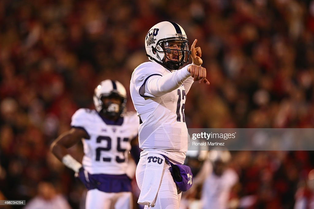 Foster Sawyer #12 of the TCU Horned Frogs in the third quarter at Gaylord Family Oklahoma Memorial Stadium on November 21, 2015 in Norman, Oklahoma.