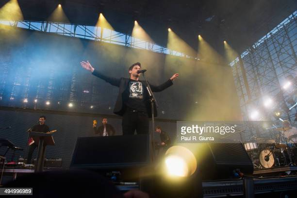 Foster the People performs onstage at the 2014 KROQ Weenie Roast at Verizon Wireless Amphitheater on May 31 2014 in Irvine California