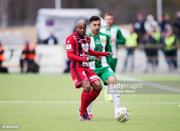 Fouad Bachirou of Ostersunds FK and Jiloan Hamad of Hammarby IF during the Allsvenskan match between Ostersunds FK and Hammarby IF at Jamtkraft Arena...