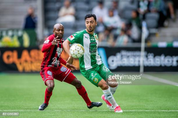 Fouad Bachirou of Ostersunds FK and Jiloan Hamad of Hammarby IF during the Allsvenskan match between Hammarby IF and Ostersunds FK at Tele2 Arena on...