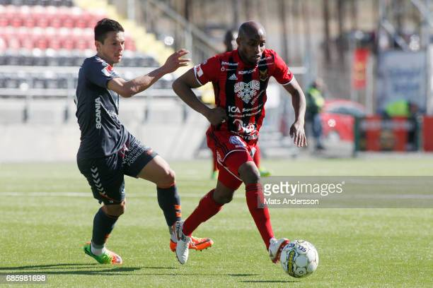 Fouad Bachirou of Ostersunds FK and Romário Pereira Sipiao of Kalmar FF in action during the Allsvenskan match between Ostersunds FK and Kalmar FF at...
