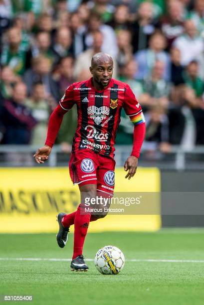 Fouad Bachirou of Ostersunds FK during the Allsvenskan match between Hammarby IF and Ostersunds FK at Tele2 Arena on August 14 2017 in Stockholm...
