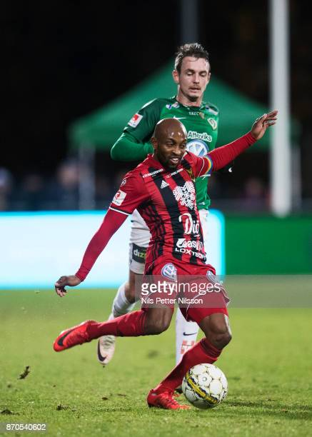 Fouad Bachirou of Ostersunds FK shoots during the Allsvenskan match between Jonkopings Sodra IF and Ostersunds FK at Stadsparksvallen on November 5...