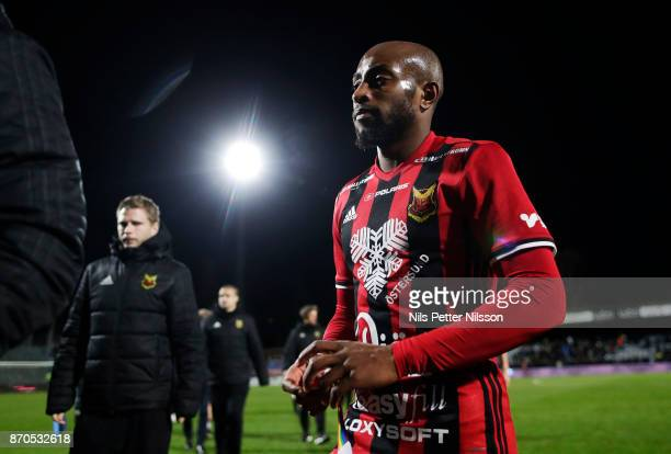 Fouad Bachirou of Ostersunds FK walks off the pitch after the Allsvenskan match between Jonkopings Sodra IF and Ostersunds FK at Stadsparksvallen on...
