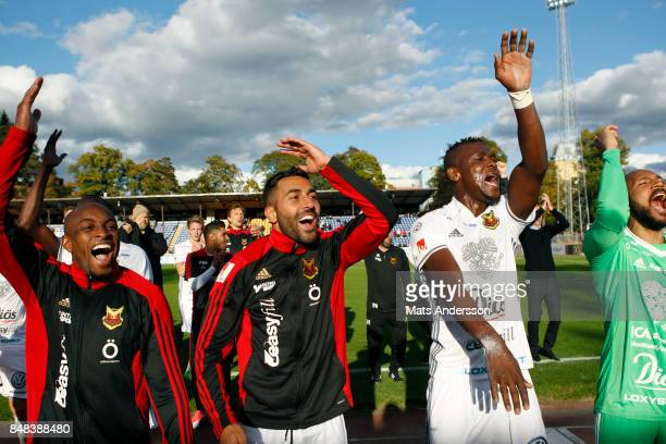 Fouad Bachirou Saman Ghoddos Alhaji Gero and Aly Keita goalkeeper of Ostersunds FK celebrates after the victory of the Allsvenskan match between IK...