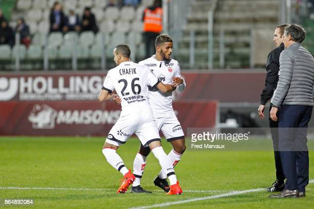 Fouad Chafik of Dijon and Valentin Rosier of Dijon during the Ligue 1 match between Metz and Dijon FCO at on October 21 2017 in Metz