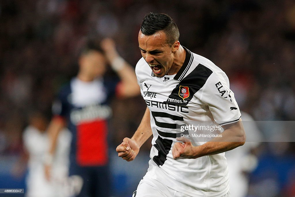 Foued Kadir of Rennes celebrates scoring his teams first goal during the Ligue 1 match between Paris SaintGermain FC and Stade Rennais FC at Parc des...