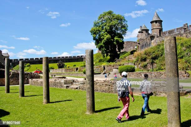 Fougeres the fortified castle monument registered as a National Historic Landmark Ruins of the seignioral living quarters with the tower Tour de...