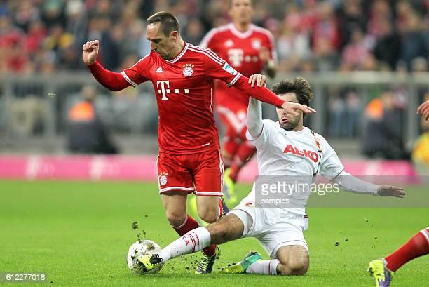 Foul an Franck Ribery führt zum zweiten Elfmeter 1 FußballBundesliga FC Bayern München vs FC Augsburg 12 Spieltag