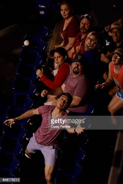 A foul ball is tracked by fans as the Philadelphia Phillies host the Oakland Athletics during the eighth inning at Citizens Bank Park on September 16...