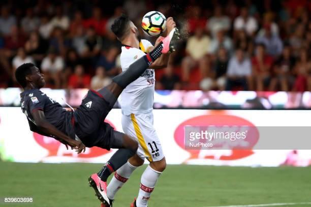 foul of M'Baye player of Bologna difender on Coda player of Benevento central tip Match of Serie A TIM between Benevento Calcio vs FC Bologna Stadium...