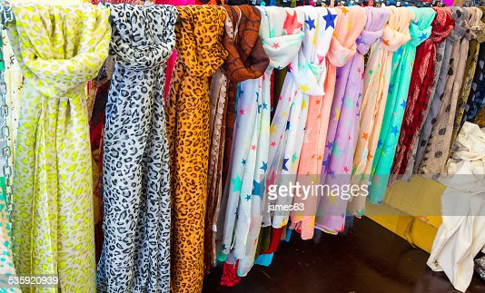 foulard scarves of many colors and patterns : Stock Photo