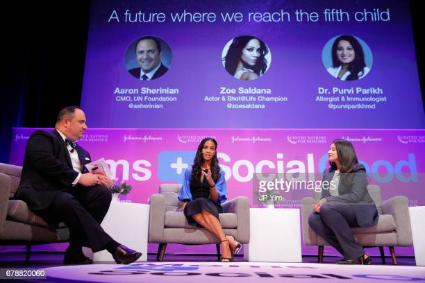 Foundation Aaron Sherinian Zoe Saldana and Allergist and Immunologist Dr Purvi Parikh speak on a panel discussion at the 5th Annual Moms SocialGood...