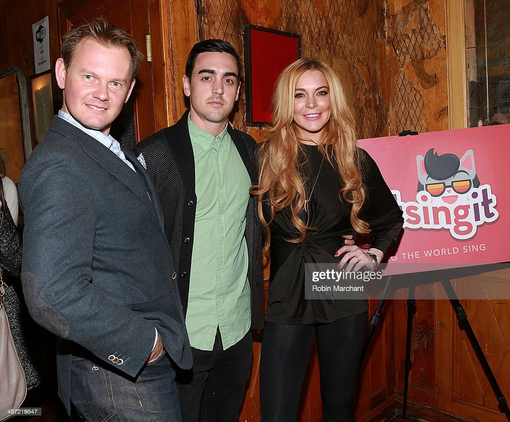 Foundation CEO Alec Andronikov, Michael Lohan Jr. and <a gi-track='captionPersonalityLinkClicked' href=/galleries/search?phrase=Lindsay+Lohan&family=editorial&specificpeople=171623 ng-click='$event.stopPropagation()'>Lindsay Lohan</a> attend the 'Just Sing It' app launch event at Pravda on December 16, 2013 in New York City.