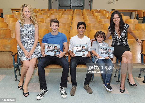 Foundation director of literacy Robin Roy actors Jack Griffo Karan Brar August Maturo and executive director of the Rise Up Foundation Alane Adams...