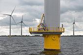 Foundation big Dutch wind turbine in the sea