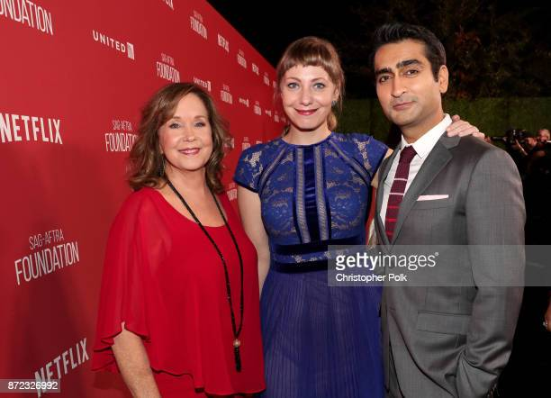 Foundation Executive Director Cyd Wilson Emily V Gordon and Kumail Nanjiani attend the SAGAFTRA Foundation Patron of the Artists Awards 2017 at the...