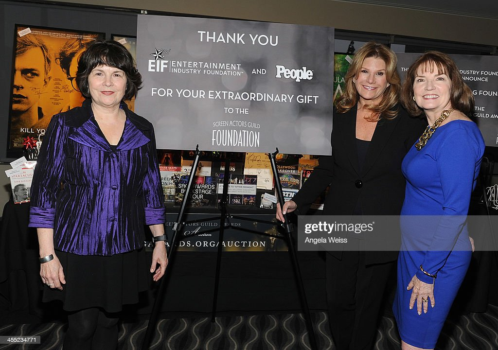 L-R) SAG Foundation Executive Director Jill Seltzer, EIF President & CEO <a gi-track='captionPersonalityLinkClicked' href=/galleries/search?phrase=Lisa+Paulsen&family=editorial&specificpeople=745684 ng-click='$event.stopPropagation()'>Lisa Paulsen</a> and SAG Awards Executive Producer Kathy Connell attend the SAG Awards Holiday Auction to benefit The Screen Actors Guild Foundation at the 20th Annual Screen Actors Guild Awards Nominations Announcement at Pacific Design Center on December 11, 2013 in West Hollywood, California.