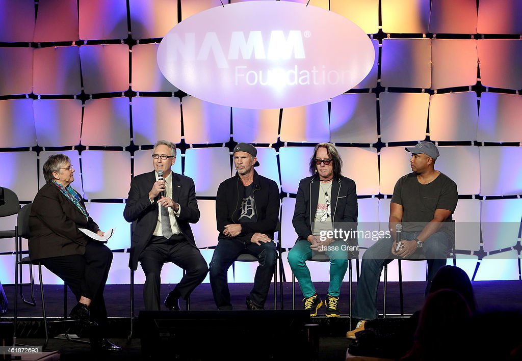 Foundation Executive Director Mary Luehrsen, NAMM President and CEO Joe Lamond, Drummer Chad Smith, recording artist Todd Rundgren and Baseball player Bernie Williams attend the 2014 National Association of Music Merchants show at the Anaheim Convention Center on January 24, 2014 in Anaheim, California.