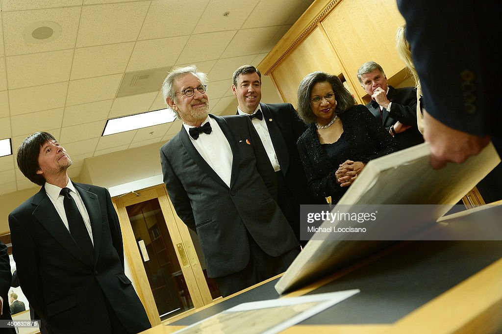 Foundation for the National Archives Board Vice President and Gala Chair <a gi-track='captionPersonalityLinkClicked' href=/galleries/search?phrase=Ken+Burns&family=editorial&specificpeople=220451 ng-click='$event.stopPropagation()'>Ken Burns</a>, filmmaker and honoree <a gi-track='captionPersonalityLinkClicked' href=/galleries/search?phrase=Steven+Spielberg&family=editorial&specificpeople=202022 ng-click='$event.stopPropagation()'>Steven Spielberg</a>, Executive Director of the Foundation for the National Archives Patrick Madden, Foundation for the National Archives Chair and President A'Lelia Bundles, and Archivist of the United States The Honorable David S. Ferriero view Archives records, including the 13th Amendment to the Constitution and the Louisiana Purchase, at the Foundation for the National Archives 2013 Records of Achievement award ceremony and gala in honor of <a gi-track='captionPersonalityLinkClicked' href=/galleries/search?phrase=Steven+Spielberg&family=editorial&specificpeople=202022 ng-click='$event.stopPropagation()'>Steven Spielberg</a> on November 19, 2013 in Washington, D.C.