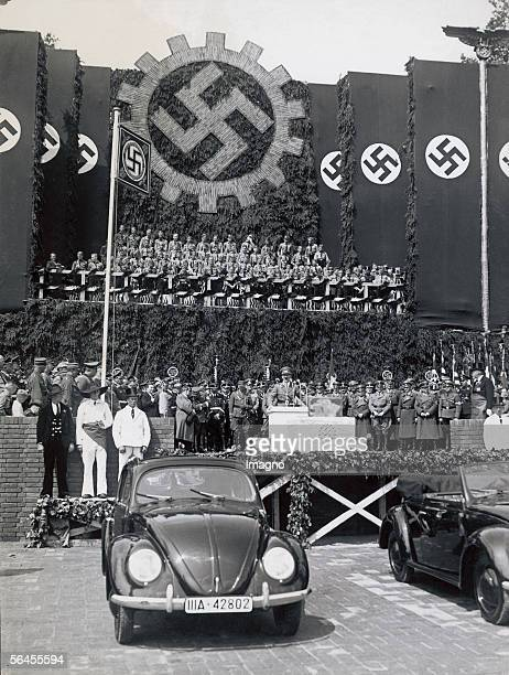 Foundation stone for the Volkswagen factory in Fallersleben near Wolfsburg Germany on the occasion of Aldolf Hitlers 50th birthday Photography 1938...