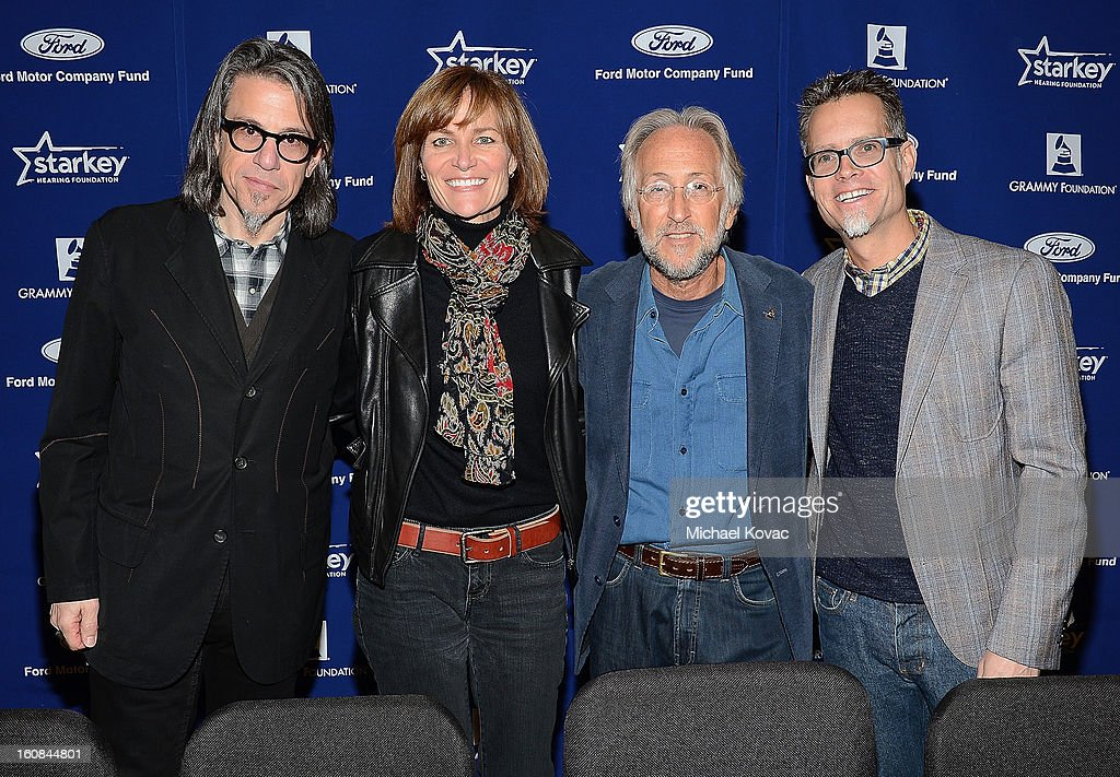 Foundation VP Scott Goldman, GRAMMY Foundation SVP Kristen Madsen, President/CEO of The Recording Academy Neil Portnow, and GRAMMY Foundation Board Chair Rusty Rueff attend GRAMMY Camp Basic Training on February 6, 2013 in Los Angeles, California.