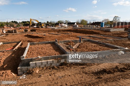 Foundations and some blockwork on a large Exeter construction site