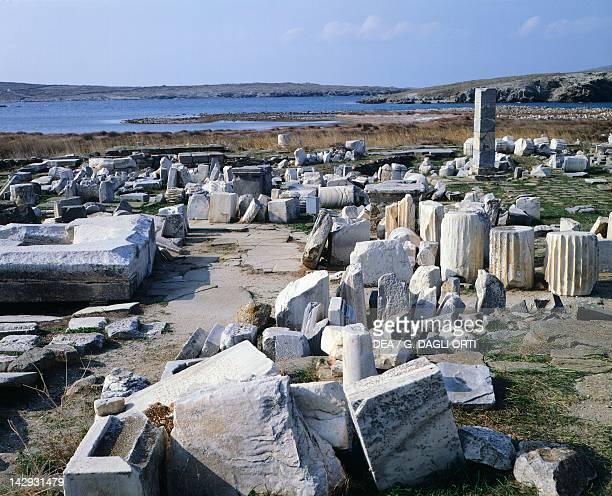 Foundations of the Colossus of Nessi in the Sanctuary of Apollo in Delos Cyclades Islands Greece Greek civilization