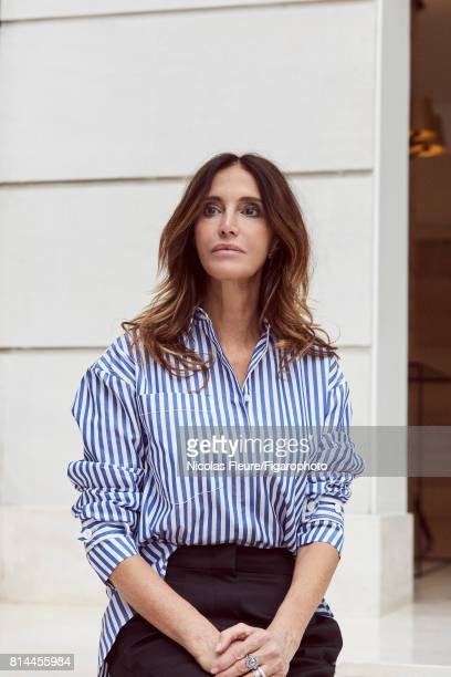 Founder and Artistic Director of Sandro Woman Evelyne Chetrite is photographed for Madame Figaro on March 8 2017 in Paris France Shirt and pants...