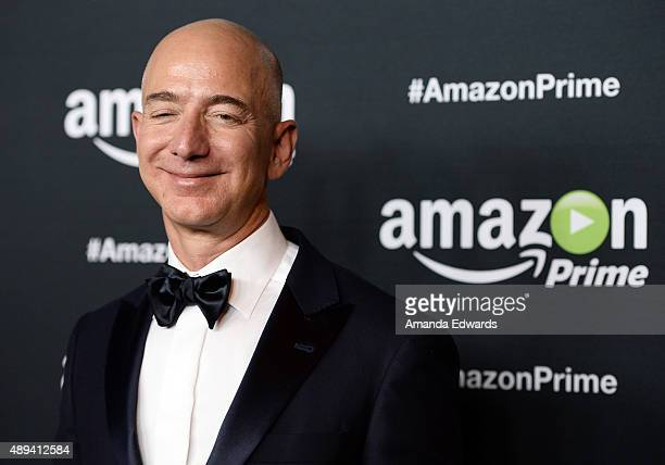 Founder and CEO of Amazoncom Jeff Bezos arrives at Amazon Video's 67th Primetime Emmy Celebration at The Standard Hotel on September 20 2015 in Los...