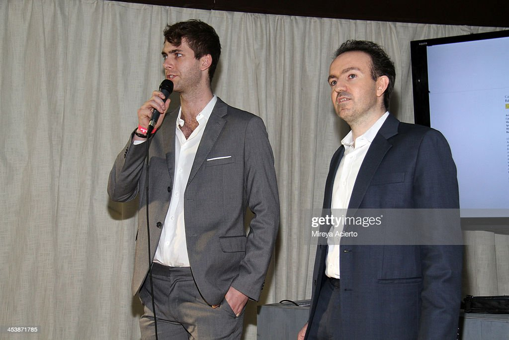Founder and CEO of Arsty, Carter Cleveland and President and COO of Artsy, Sebastian Cwilich attend the Artsy celebration for CalArts' John Baldessari Studios, with Audi, Valentino, and Vhernier at Soho Beach House on December 5, 2013 in Miami Beach, Florida.