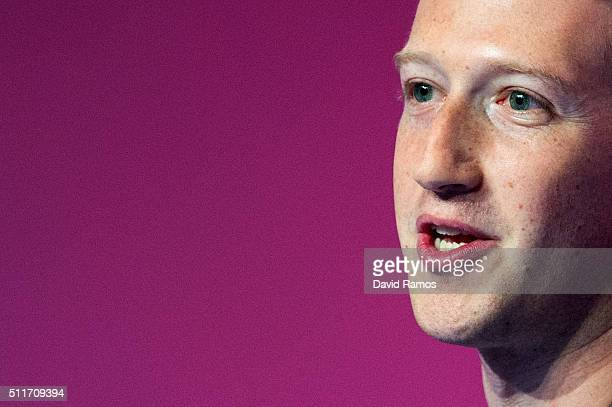 Founder and CEO of Facebook Mark Zuckerberg delivers his keynote conference on the opening day of the World Mobile Congress at the Fira Gran Via...