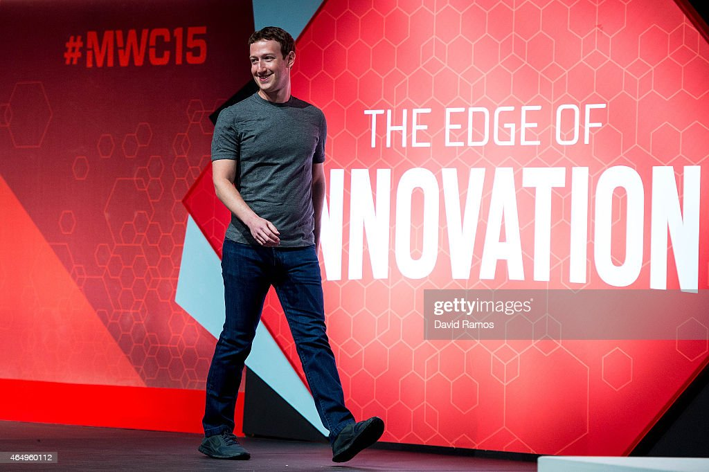 Founder and CEO of Facebook Mark Zuckerberg he walks onto the stage prior to his keynote conference during the first day of the Mobile World Congress...