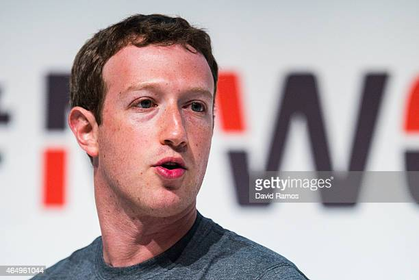 Founder and CEO of Facebook Mark Zuckerberg speaks during his keynote conference during the first day of the Mobile World Congress 2015 at the Fira...