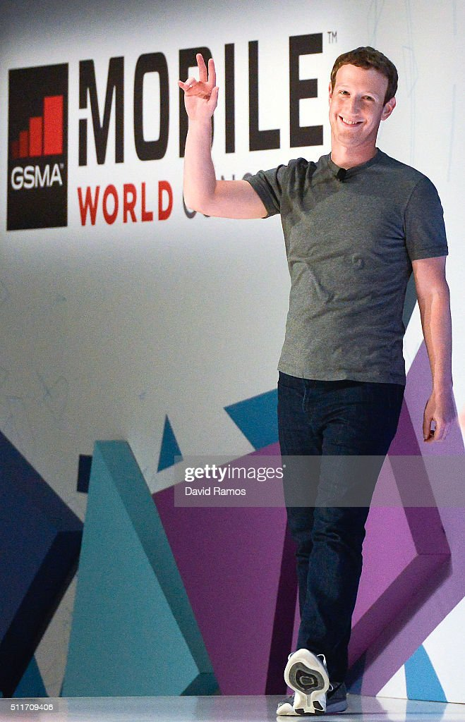 Founder and CEO of Facebook Mark Zuckerberg waves as he arrives for a keynote conference on the opening day of the World Mobile Congress at the Fira Gran Via Complex on February 22, 2016 in Barcelona, Spain. The annual Mobile World Congress hosts some of the world's largest communications companies, with many unveiling their latest phones and wearables gadgets.