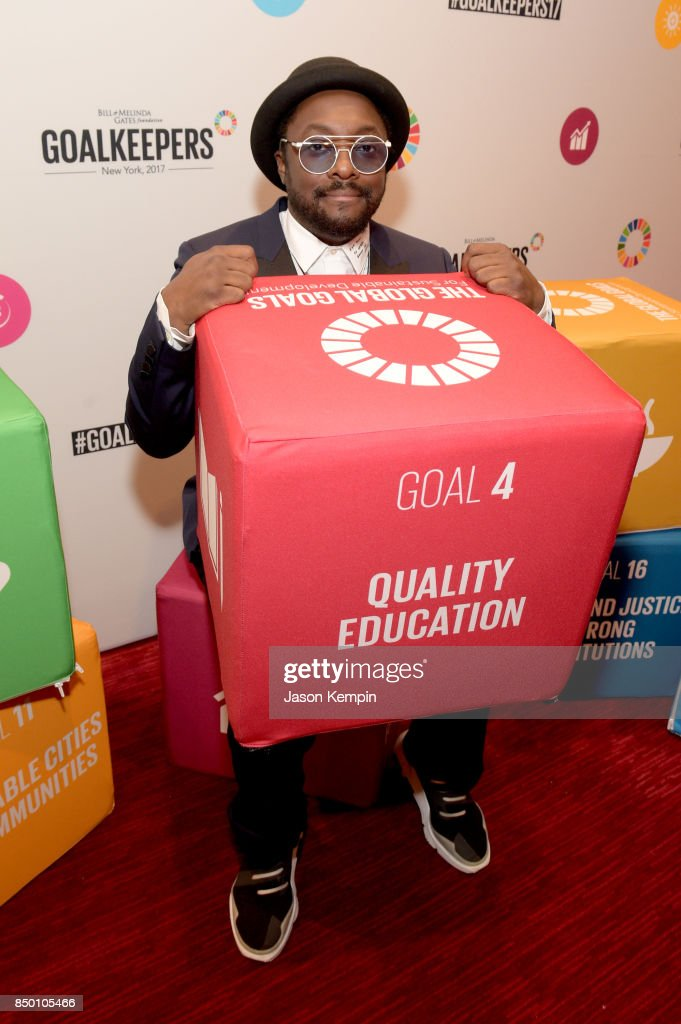 Founder and CEO of 'i.am+' will.i.am attends Goalkeepers 2017, at Jazz at Lincoln Center on September 20, 2017 in New York City. Goalkeepers is organized by the Bill & Melinda Gates Foundation to highlight progress against global poverty and disease, showcase solutions to help advance the Sustainable Development Goals (or Global Goals) and foster bold leadership to help accelerate the path to a more prosperous, healthy and just future.
