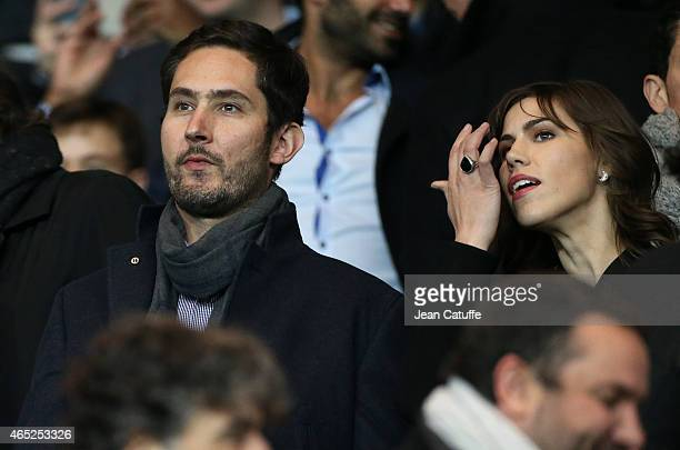 Founder and CEO of Instagram Kevin Systrom and his girlfriend Nicole Schuetz attend the French Cup match between Paris SaintGermain FC and AS Monaco...