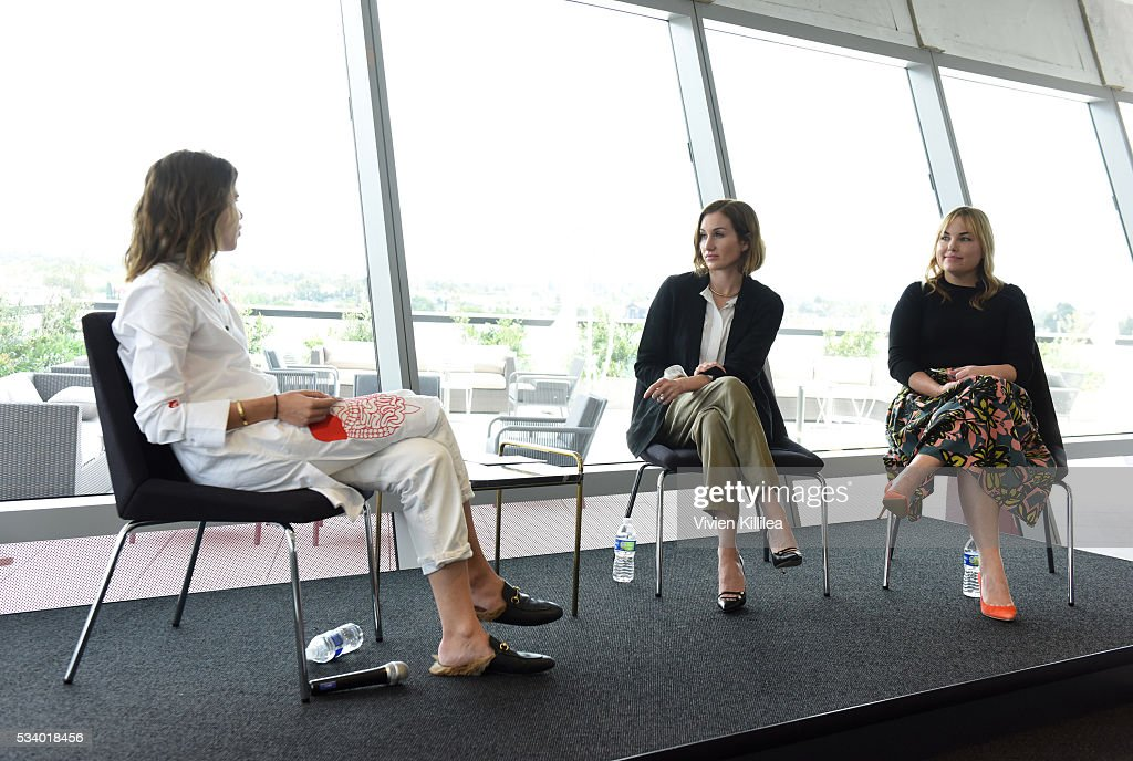 Founder and CEO of Into the Gloss and Glossier Emily Weiss, co-founder and CEO of Clique Media Group Katherine Power and co-founder of Clique Media Group <a gi-track='captionPersonalityLinkClicked' href=/galleries/search?phrase=Hillary+Kerr&family=editorial&specificpeople=5767451 ng-click='$event.stopPropagation()'>Hillary Kerr</a> speak at the Fast Company Creativity Counter-Conference 2016 on May 24, 2016 in Los Angeles, California.