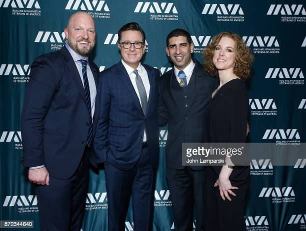 Founder and CEO of Iraq and Afghanistan Veterans of America Paul Rieckhoff Stephen Colbert Medal of Honor recipient and IAVA Honoree Captain Flo...