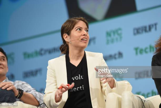Founder and CEO of Pipeline Angels and Pitch Makeover Natalia Oberti Noguera speaks onstage during TechCrunch Disrupt NY 2017 Day 2 at Pier 36 on May...