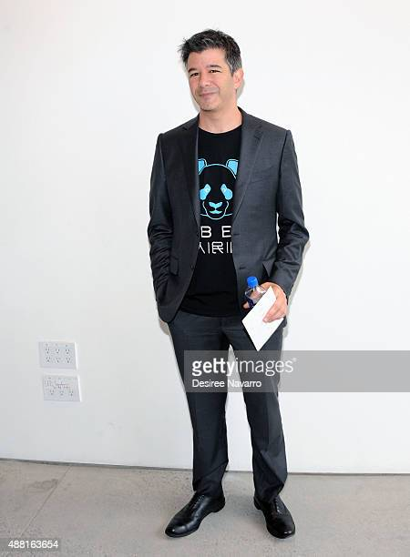 Founder and CEO of UberTravis Kalanick poses backstage during Diane Von Furstenberg Spring 2016 New York Fashion Week at Spring Studios on September...