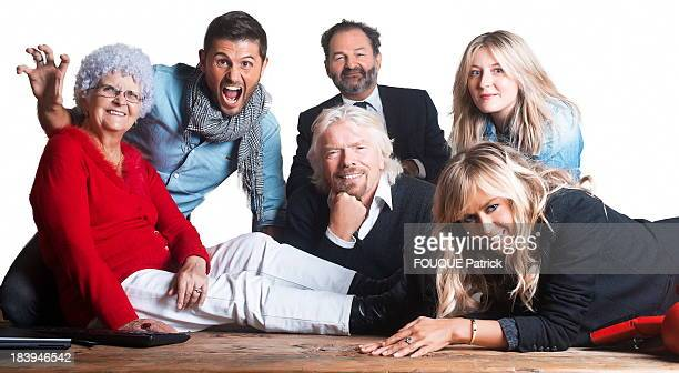 Founder and CEO of Virgin Group Richard Branson with the team of Virgin Radio on the left at the right Lucienne Christophe Beaugrand Denis Olivennes...