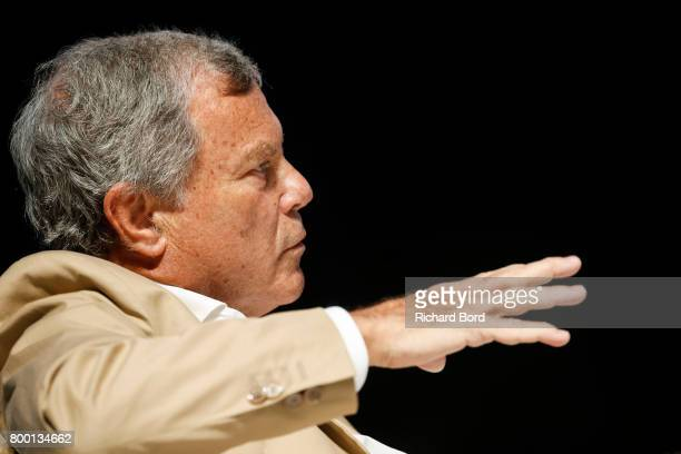 Founder and CEO of WPP Sir Martin Sorrell speaks during the Cannes Lions Festival 2017 on June 23 2017 in Cannes France