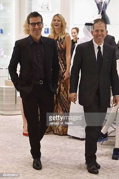 Founder and CEO of YOOX Group Federico Marchetti and Chairman and Chief Executive of Conde Nast International Jonathan Newhouse walk during the VIP...