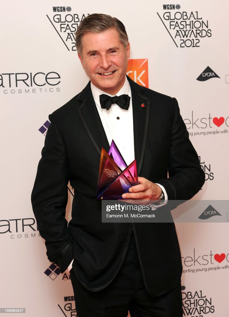 Founder and Chairman of Hackett, Jeremy Hackett with his Menswear Design Team award during the WGSN Global Fashion Awards at The Savoy Hotel on November 5, 2012 in London, England.