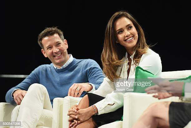 Founder and COO of The Honest Company Jessica Alba and CMO of The Honest Company Chris Thorne speak onstage during TechCrunch Disrupt NY 2016 at...