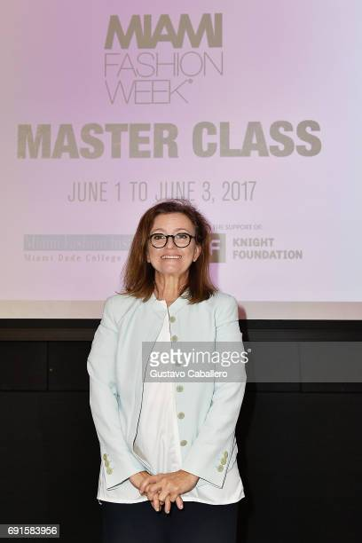 Founder and Creative Director of DesignLab Miami Angie Cohen attends Miami Fashion Week Master Classes at Miami Dade College on June 2 2017 in Miami...