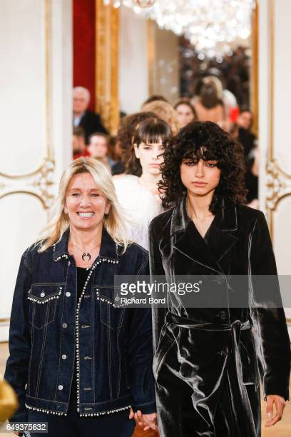 Founder and Designer Sophie Mechaly walks the runway with models during the Paul Joe Paris show during Paris Fashion Week Womenswear Fall/Winter...